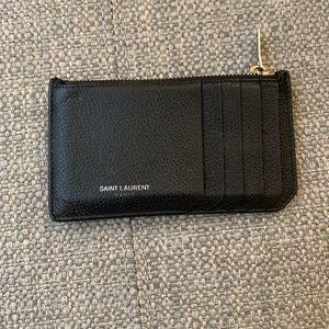 Saint Laurent zippered card holder wallet black